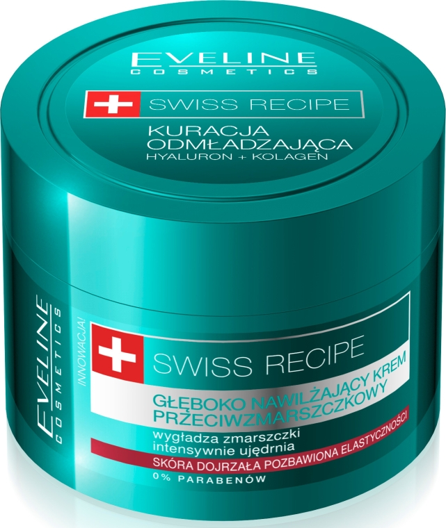 Głęboko nawilżający krem przeciwzmarszczkowy - Eveline Cosmetics Swiss Recipe