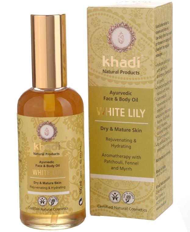 Olejek do twarzy i ciała do skóry suchej i dojrzałej Biała lilia - Khadi White Lily Ayurvedic Face & Body Oil — фото N1