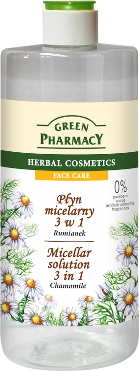 Płyn micelarny 3 w 1 Rumianek - Green Pharmacy Micellar Solution 3 in 1 Chamomile