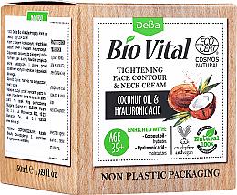 Kup PRZECENA! Ujędrniający krem do twarzy i szyi Olej kokosowy i kwas hialuronowy 35+ - DeBa Bio Vital Tightening Face Contour and Neck Cream *
