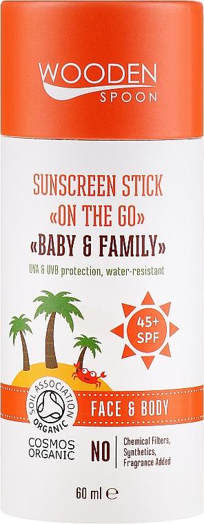 Przeciwsłoneczny sztyft do twarzy i ciała dla całej rodziny SPF 45+ - Wooden Spoon Sunscreen Stick On The Go SPF 45 — фото N1