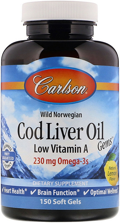 Olej z wątroby dorsza w żelowych kapsułkach - Carlson Labs Cod Liver Oil Gems — фото N1
