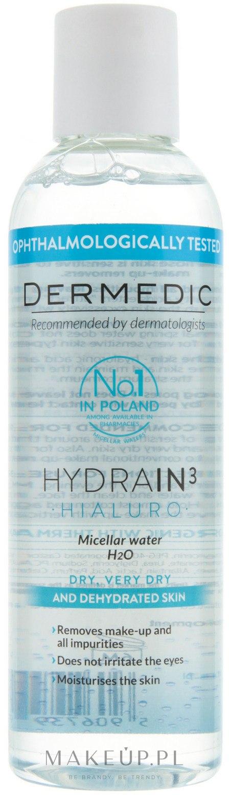 Płyn micelarny H2O do cery suchej, bardzo suchej i odwodnionej - Dermedic Hydrain3 Hialuro — фото 200 ml