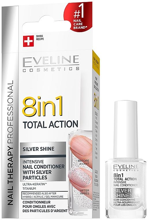 Skoncentrowana odżywka do paznokci z drobinkami srebra 8 w 1 - Eveline Cosmetics Nail Therapy Professional