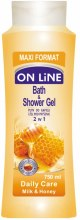 Kup Żel pod prysznic i do kąpieli 2 w 1 Mleko i miód - On Line Daily Care Bath & Shower Gel Milk & Honey