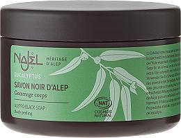 Kup PRZECENA! Czarne peelingujące mydło aleppo z eukaliptusem - Najel Black Savon Noir Aleppo Soap Eucalyptus Body Peeling *