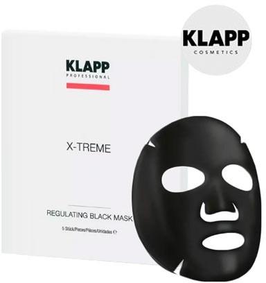 Regulująca czarna maska na tkaninie do twarzy - Klapp X-Treme Regulating Black Mask — фото N1