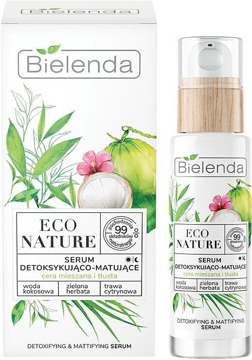 Serum w witaminą C - Bielenda Eco Nature Coconut Water Green Tea & Lemongrass Detox & Mattifyng Serum