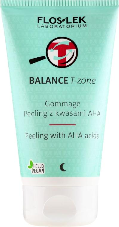 Peeling gommage z kwasami AHA do twarzy - Floslek Balance T-Zone