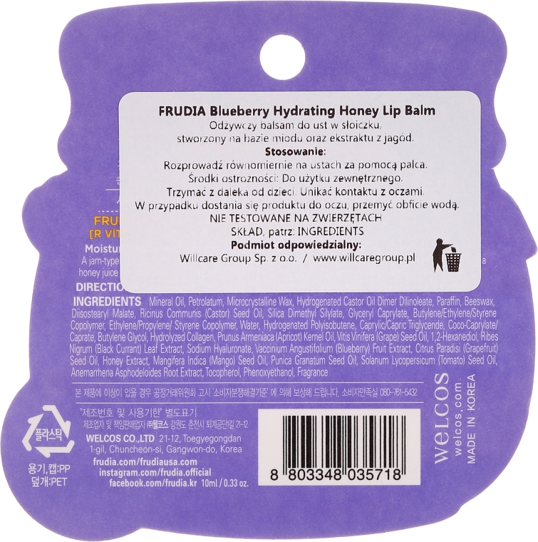 Nawilżający balsam do ust - Frudia Hydrating Blueberry Honey Lip Balm — фото N2