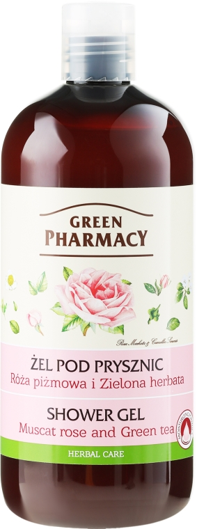 Żel pod prysznic Róża piżmowa i zielona herbata - Green Pharmacy Shower Gel Muscat Rose and Green Tea