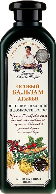 Specjalny balsam Agafii przeciw wypadaniu i łamliwości włosów - Receptury Babci Agafii