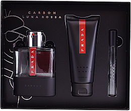 Prada Luna Rossa Carbon - Zestaw (edt/100ml + sh/gel/100ml + edt/10ml) — фото N3