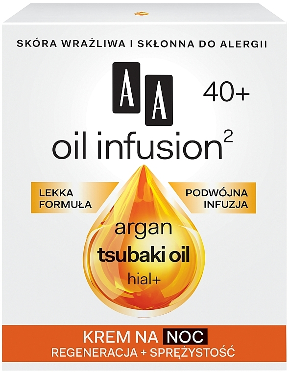 Krem do twarzy na noc Regeneracja + sprężystość - AA Oil Infusion2 40+ — фото N1