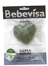 Kup Gąbka konjac do mycia twarzy, serce Zielona herbata - Bebevisa Konjac Sponge