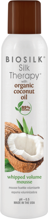 Mus do stylizacji włosów zwiększający objętość - Biosilk Silk Therapy with Coconut Oil Whipped Volume Mousse — фото N1