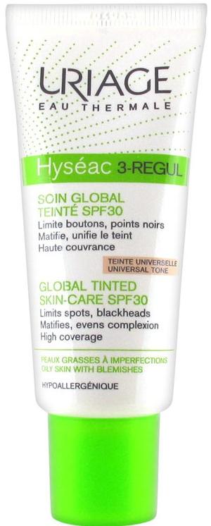 Tonujący krem do twarzy SPF 30 - Uriage Hyséac 3-Regul Global Tinted Skin-Care
