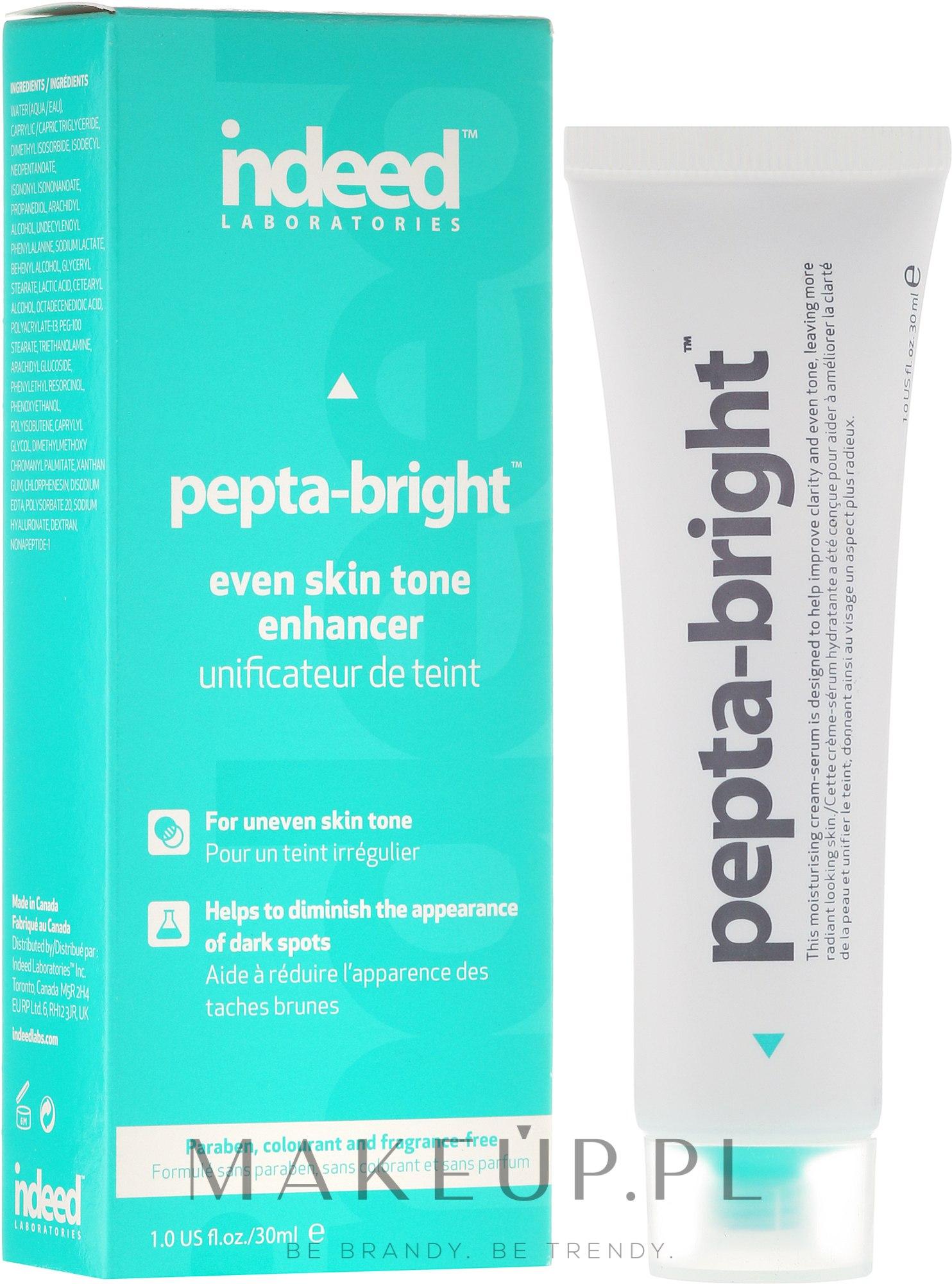 Serum rozjaśniające przebarwienia i ujednolicające koloryt skóry - Indeed Laboratories Pepta-Bright Even Skin Tone Enhancer — фото 30 ml