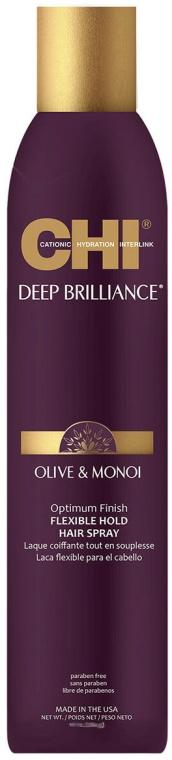 Lakier do włosów Elastyczne utrwalenie - CHI Deep Brilliance Olive & Monoi Optimum Finish Flexible Hold Hair Spray — фото N1