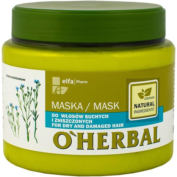 Maska z ekstraktem z lnu do włosów suchych i zniszczonych - O'Herbal