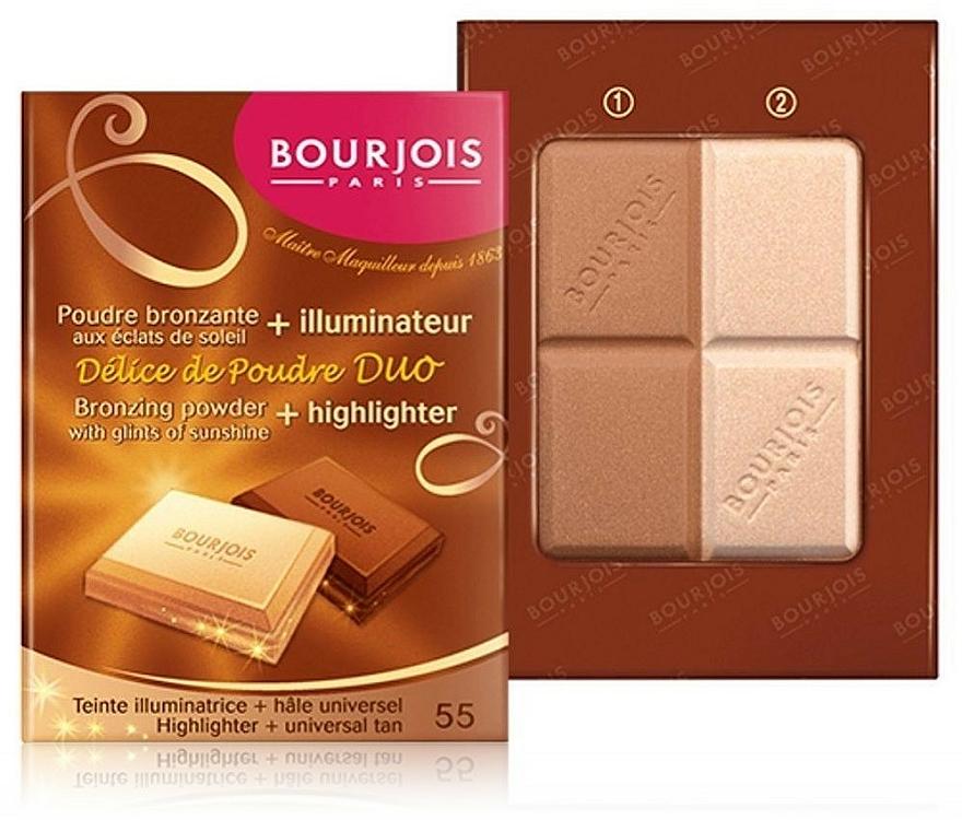 Puder do twarzy (w kompakcie) - Bourjois Delice De Poudre Bronzing Duo Powder + Highlighter — фото N2
