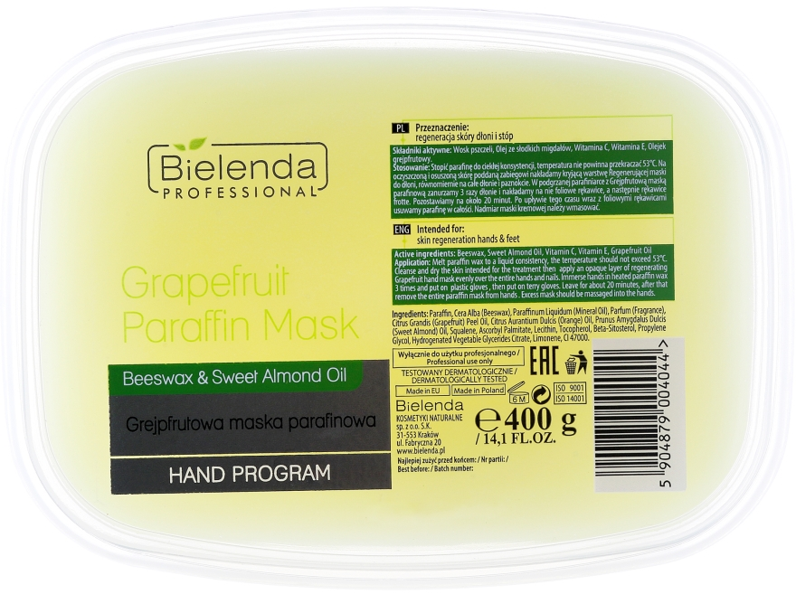 Maska parafinowa z grejpfrutem do dłoni i stóp - Bielenda Professional Grapefruit Paraffin Mask Beeswax & Sweet Almond Oil — фото N1