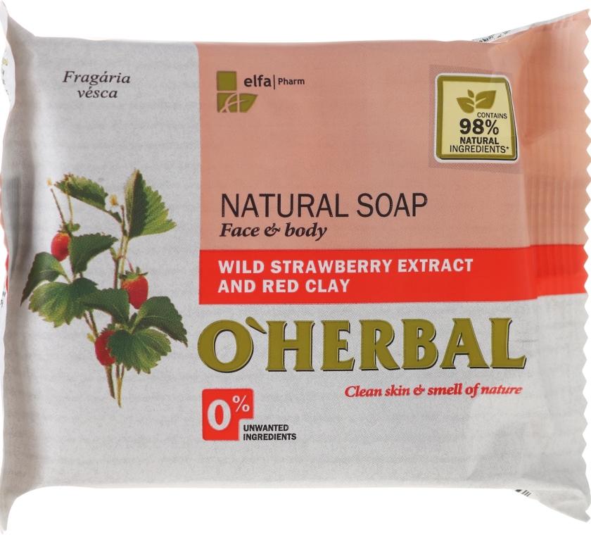 Naturalne mydło w kostce z ekstraktem z poziomki i glinką czerwoną - O'Herbal