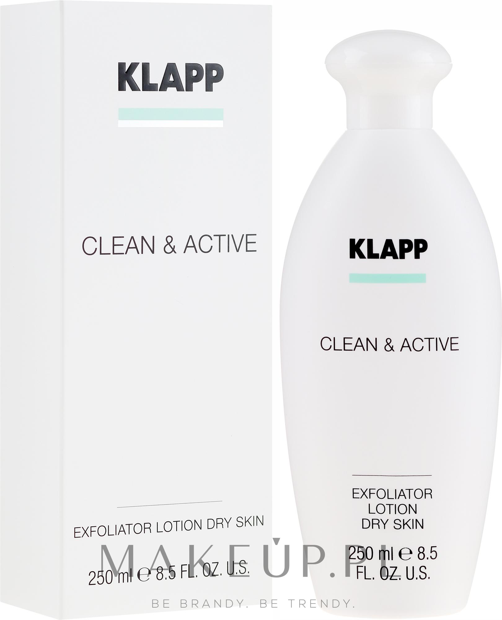 Peelingujący lotion do suchej skóry ciała - Klapp Clean & Active Exfoliator Dry Skin — фото 250 ml