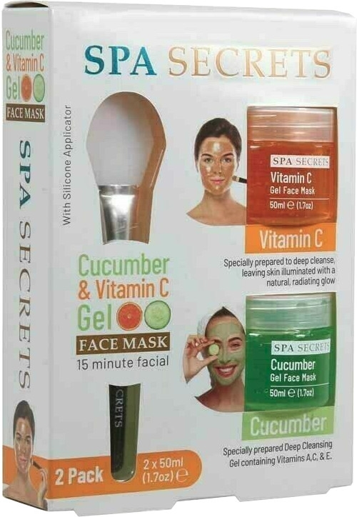 Zestaw - Spa Secrets Cucumber & Vitamin C Gel Face Mask (mask/60ml + mask/60ml + brush/mask/1pcs)