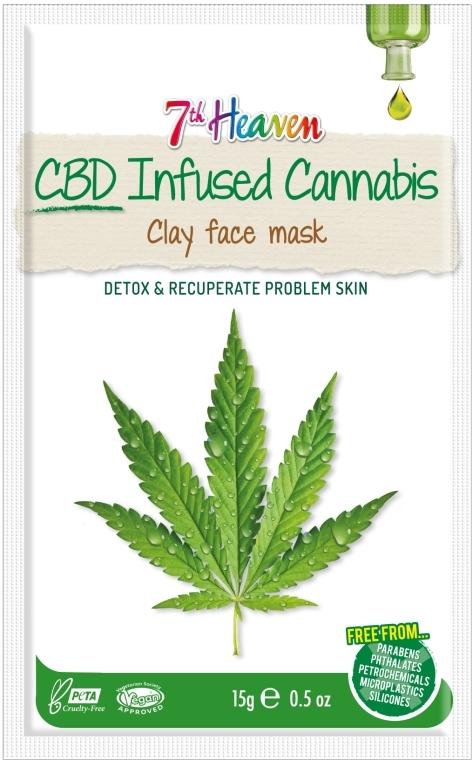 Glinkowa maska do twarzy z olejem z konopi - 7th Heaven CBD Infused Cannabis Clay Face Mask — фото N1