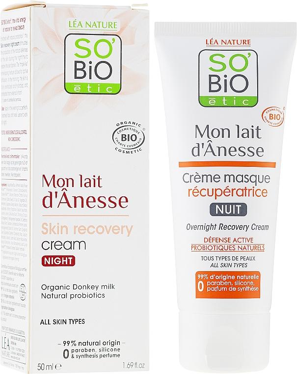 Regenerujący krem-maska na noc z oślim mlekiem - So'Bio Etic Overnight Recovery Cream — фото N1