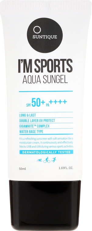 Nawilżający krem przeciwsłoneczny do twarzy o żelowej konsystencji SPF 50+/PA++++ - Suntique I'm Sports Aqua Sungel  — фото N2