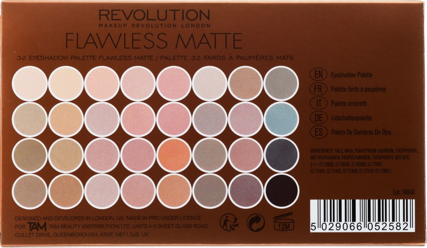 Paleta cieni do powiek - Makeup Revolution Flawless Matte Ultra Eyeshadows — фото N3