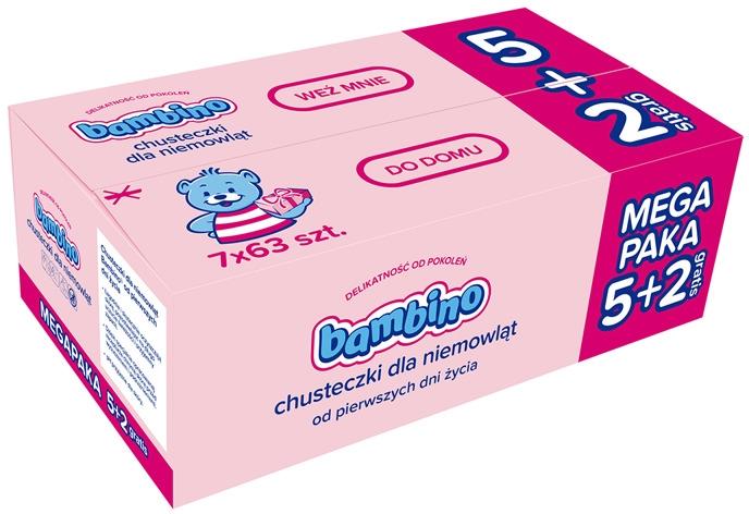 Chusteczki nawilżane dla niemowląt, 7 x 63 szt. - Bambino Wipes