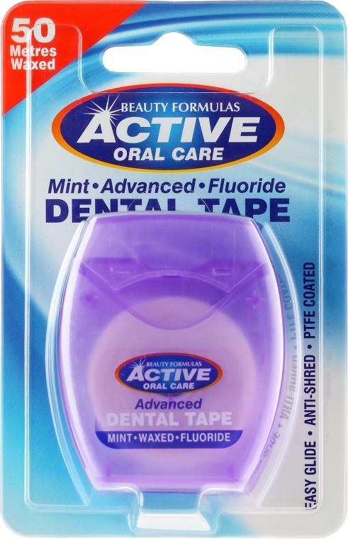 Miętowa szeroka taśma dentystyczna z fluorem, 50 m - Beauty Formulas Active Oral Care Mint Waxed Fluoride Dental Tape
