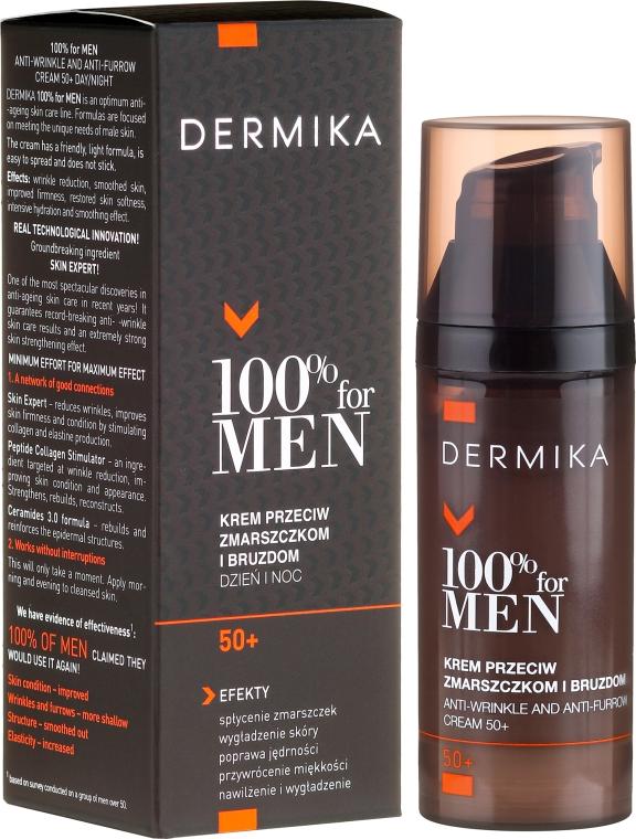 Krem przeciw zmarszczkom i bruzdom dla mężczyzn 50+ - Dermika 100% For Men Anti-Wrinkle And Anti-Furrow Cream