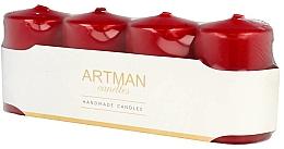 Kup PRZECENA! Zestaw świec dekoracyjnych, czerwone - Artman Candles (candle/4pcs) *