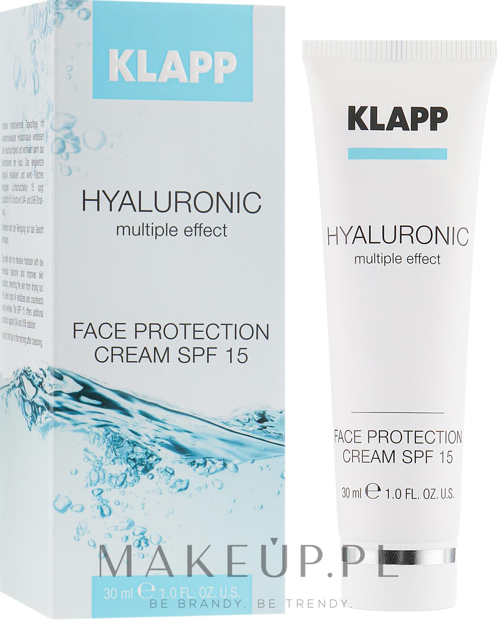 Nawilżający krem do twarzy z kwasem hialuronowym SPF 15 - Klapp Cosmetics Hyaluronic Face Protection — фото 30 ml