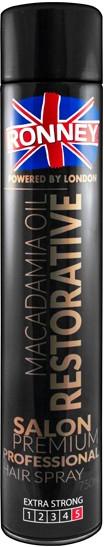 Wzmacniający lakier do włosów - Ronney Professional Macadamia Oil Restorative Hair Spray