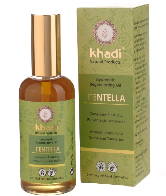 Ajurwedyjski olejek do ciała na rozstępy z wąkrotą azjatycką - Khadi Centella Ayurvedic Regenerating Oil — фото N1
