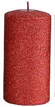 Kup Świeca dekoracyjna, czerwony walec, 7 x 14 cm - Artman Glamour