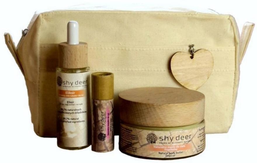 Rytuał na specjalne okazje do skóry twarzy i ciała każdego typu - Shy Deer Zero Waste Set (elixir 30 ml + body/butter 100 ml + lip/butter 12 ml + bag + pendant) — фото N1