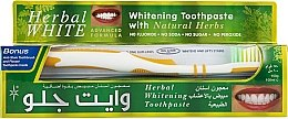 Kup Zestaw do mycia zębów z biało-żółtą szczoteczką - White Glo Herbal White (t/paste/100ml + t/brush/1)