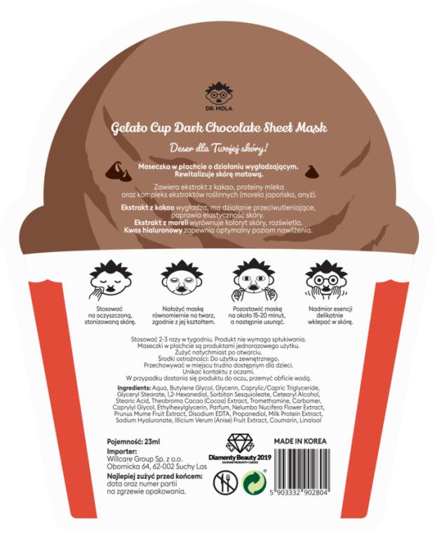 Maska na tkaninie do twarzy - Dr. Mola Dark Chocolate Gelato Cup Sheet Mask — фото N2