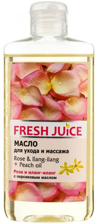 Olejek do pielęgnacji i masażu ciała Róża, olejek ylang-ylang i olejek brzoskwiniowy - Fresh Juice Energy Rose&Ilang-Ilang+Peach Oil