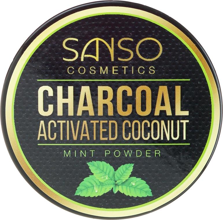 Miętowy wybielający proszek z węglem kokosowym do zębów - Sanso Cosmetics Charcoal Activated Coconut Mint Powder