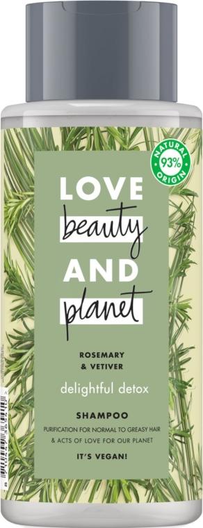 Oczyszczający szampon do włosów normalnych i przetłuszczających się Rozmaryn i wetyweria - Love Beauty&Planet Delightful Detox Rosemary & Vetiver Vegan Shampoo — фото N1
