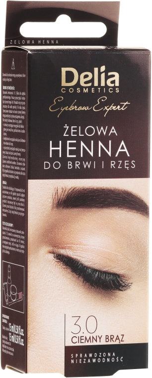 Żelowa henna do brwi Ciemny brąz - Delia Eyebrow Tint