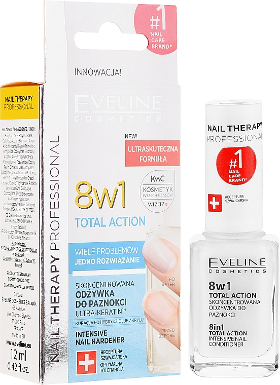 Preparat do regeneracji paznokci 8 w 1 - Eveline Cosmetics Nail Therapy Total Action 8 in 1