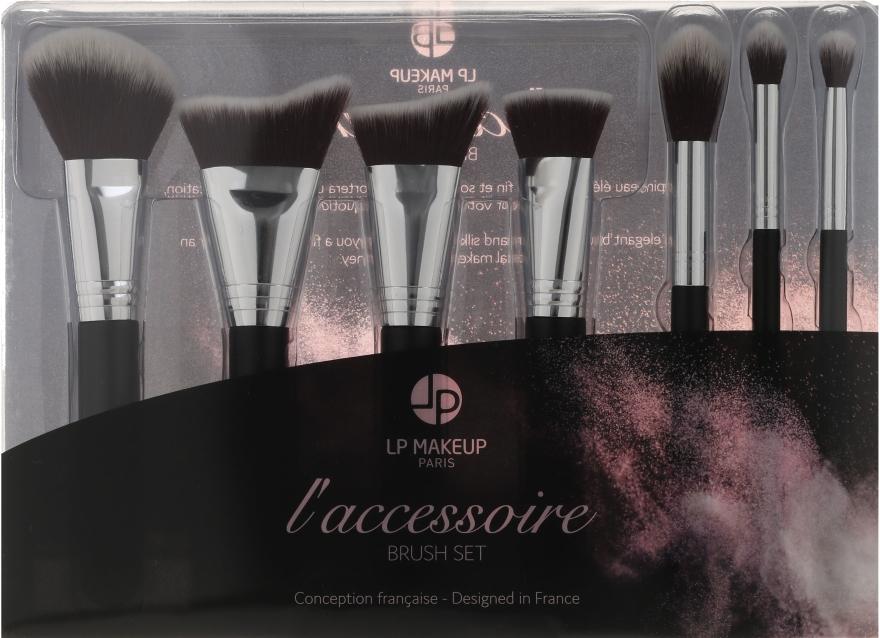 Zestaw pędzli do makijażu, 7 szt. z kosmetyczką - LP Makeup Set Of Seven Professional Brushes L'accessoire With Leather Bag — фото N1